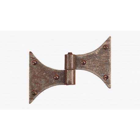 -Cerniera piana codetta doppia a farfalla in ferro battuto