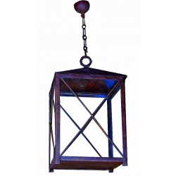 lampada lanterna antica  a soffitto in ferro battuto forgiato