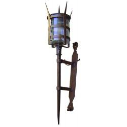 lampada antica a parete in ferro battuto forgiato stile medioevale